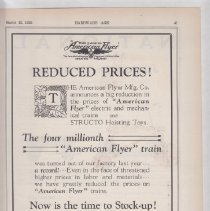 Image of Reduced Prices, The four millionth American Flyer train - Advertising Sheet, Hardware Age, American Flyer Mfg. Co.