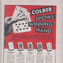 Image of Colber Shows The Winning Hand - Advertising Sheet, Playthings, Colber Model Railroad Accessories
