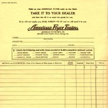 Image of American Flyer Order Form   - 1930s American Flyer order form