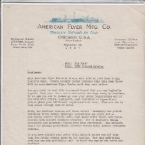 Image of Attn. Toy Buyer - Correspondence, American Flyer Mfg. Co. Letter to Dealers