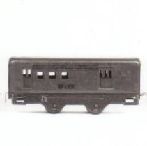 """Image of American Flyer O gauge passenger cars - American Flyer O gauge 6-3/4"""" champion cars. #1123 Passenger car with 2 - 4 wheel trucks, type III frame. #1122 Baggage car with four body mounted wheels, type X frame. #1123 Passenger car with four body mounted wheels, type X frame.  circa mid to late 30s - uncataloged.  Charlie Weber Collection.  Photograph research by Jim Yocum"""