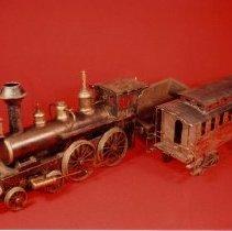 Image of American Flyer O gauge Clockwork Locomotive - Jean Schoener Live steam locomotive.  See back of print for more details.