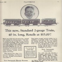 Image of This New, Standard 2-Gauge Train, 40 in. Long, Retails at $15.00! - Advertising Sheet, Playthings, The Ives Manufacturing Corp., Ives Electric and Mechanical Trains