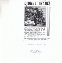 Image of Lionel Trains - Advertising Sheet, Playthings Directory ( COPY), The Lionel Corporation, Lionel Trains