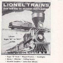 Image of Lionel Trains...the leader in model railroading - Advertising Sheet, PLAYTHINGS, The Lionel Corporation, Lionel Trains, Plus New HO Scale