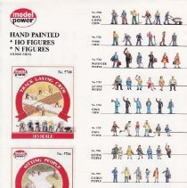 Image of Hand Painted HO Figures, N Figures - Model Power's flyer featuring hand painted scale model figures in various poses and occupations, designed for HO and N-gauge trains.