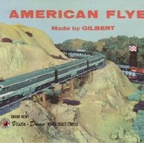 "Image of American Flyer Made by Gilbert - American Flyer mini consumer catalog featuring new Santa Fe freight, ""Black Dimond"" freight, New Haven Electric Locomotive, action cars, transformers and other accessories."