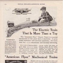 Image of The Electric Train that is More than a Toy - Original 1919 American Flyer advertisement for electric and mechanical toy trains.  Reverse side has advertisement for A.C.Gilbert toys such as erector sets, electrical sets, Mysto magic, and outdoor wheel toys.