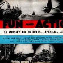 """Image of Fun and Action, For America's Boy Engineer...Chemists...Scientists - Gilbert catalog for erector sets, chemistry sets, Kaster kits, and microscopes with American Flyer 3/16"""" scale model O gauge trains and transformer on back cover."""