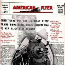 "Image of American Flyer: Sensational Postwar American Flyer Trains Bring Scale Model Railroading to New Heights of Realism - American Flyer catalog for 1946 advertising new 3/16"" scale toy trains, two-rail tracks, plastic cars, transformers, track switch and controls, and realistic sound effects for cars and trains accessories."