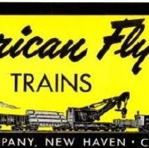 Image of American Flyer Trains - American Flyer blank Set Box Label with illustration of 4-8-4 steam locomotive pulling freight train and space for printing set number/price.