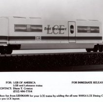 Image of LCE-3 Train Set.& LCE add on Dining Car - LGB of America, Inc. LCE-3 Train set in G gauge and add on dining car for LCE train. LCE-3 Dining Car was a new product for 2002.  Promotional Photograph.
