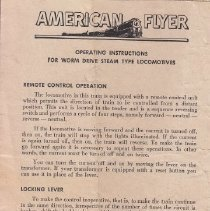 Image of Operating Instructions for Worm Drive Steam Type Locomotives - American Flyer instruction sheet for operating and maintaining worm drive steam type locomotive.