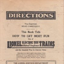 Image of Lionel 1924 Directions - Lionel 1924 Directions