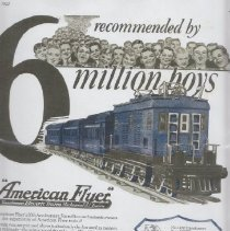 Image of American Flyer Reccommended by 6 Million Boys - Advertisement, American Flyer MFG.Co., Transformers, Electric Trains,Mechanical Trains