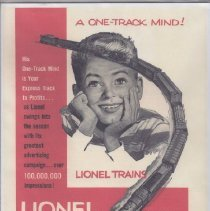 Image of A One-Track Mind...Lionel Trains - Advertisement, Lionel Trains, A One-Track Mind