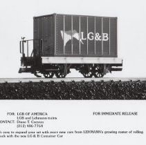 Image of LG&B Container Car - LGB of America Promotional Photograph.  LG&B Container car # 94003.