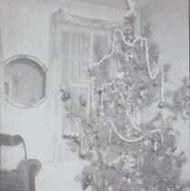 Image of Our Christmas Garden - Lionel Standard Gauge, circa 1926. # 8 locomotive, # 337 Pullman, # 338 observation car, # 13 cattle car, flat car & box car.  Photograph research by Jim Yocum.