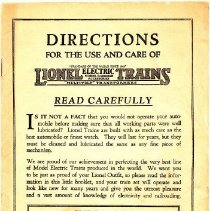 Image of Directions for the Use and Care of Lionel Electric Trains - 1929-Directions for the use and care of Lionel Electric Trains