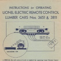 """Image of """"Instructions for Operating Lionel Electric Remote Control Lumber Cars Nos. 3651 & 3811"""" - Instructions for operating Lionel Electric Remote Control Lumber Cars Nos. 3651 & 3811. Good condition."""