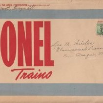 Image of Lionel Trains - 1938 Lionel envelope. New York address was crossed out and readdressed for return to the Chicago Lionel office.