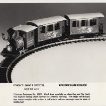 Image of LG&B Christmas Starter Set - LGB of America Promotional Photograph. G gauge Christmas starter set # 94775, with steam locomotive and two passenger cars.