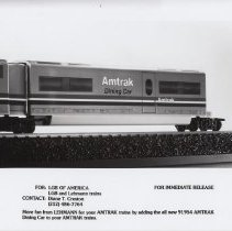 Image of LGB Amtrak Dining Car - LGB of America Promotional Photograph. G gauge Amtrak Dining Car # 91954.