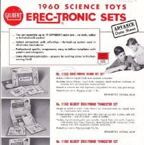 Image of A.C. Gilbert Erec-Tronic Sets Advance Data Sheet - Gilbert 1960 Science Toys Advance Data Sheet.  Erec-tronic Sets.  Sets: Radio Kit, Transistor, Electron Tube, Broadcast and Receiver.  D-2186.