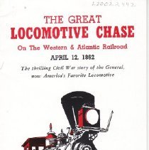 Image of Great Locomotive Chase Folder - Louisville & Nashville Railroad folder.  The Great Locomotive Chase on the Western & Atlantic Railroad.  April 12, 1862.  Folder accompanied set 2528WS in 1959 and others too? Also accompanied December 1961 issue of the Lionel Herald to Service Stations.