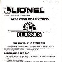 Image of Lionel operating instructions for the #1414 Standard gauge  Passenger car.