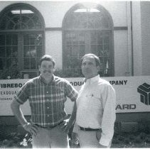 Image of P30370 - Ken Moore and Bill Brandenberger stand outside the Fibreboard offices in Standard.