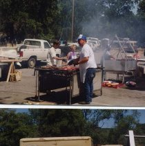 Image of P31164 - Two pics of the BBQ staff with the middle pic showing Brian Baer and Hank Hix as the chef.