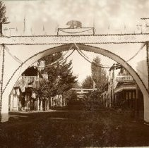 Image of TP1170 -  N.D.G. W. and N.S.G.W. decorations for parade. The arch with the bear on top,  N.S.G.W. Welcome N.D.G.W. under the bear. Hanging rope across the front and back. And P on each pillar, with flags on top of the arch. Flags line the main street handing from the buildings.
