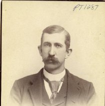 Image of TP1287 - Portrait - Man not identified. Upper body photo. In a suit with a straight collar and a striped tie with a large winsor knot. Hair parted to one side and a full mustach.