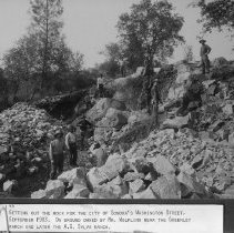 Image of TP146 - Getting out the rock for Washington Street in Sonora, On ground owned by Mr. Wolfling, near the Greenely Ranch, later A. G. Sylva Ranch, 1903.