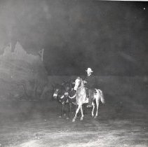 Image of TP2166 - Group- man riding horse back with 2 mules. Tuolumne County Gold Centennial Celebration. 1849-50---1949-50.