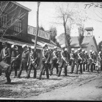 Image of TP237 - Knight Templars Easter Parade, on Washington Street, 1895.  Shows west side of street from IOOF building at Dodge Street to the Eureka Engine Co. A. Photo black and white B.  Knight Templars marching down Washington St. C.  Commandery No. 3 with drummers.  IOOF