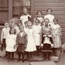 "Image of TP2628 - Group of unidentified children.  Possibly school children.   All are dressed in their ""Sunday Best""."
