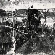 Image of TP3170 - Hydraulic mining across from Eagle Cottage, Columbia Original in blackened condition - copy made for society by state Beaches and Parks. school shows built in 1860