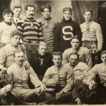 Image of TP351 - 1903-04 Sonora Football team - Back row, L-R:  Frank Reynolds, Coach...., Red Houlihan, Bill Freer, Will Kelly, Mitchell Terzich.