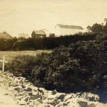 Image of TP3551 - Landscape - Roadside with Cross-Building, Columbia, E. L. Rehm Collection.