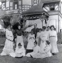 Image of TP3582 - Group-  Curtin Home and family. Mrs. Curtin second from left.  Copied from a picture owned by Jack Sebring.