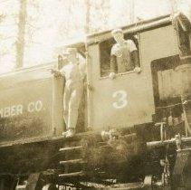 Image of TP4220 - Portrait-Pickering Lumber Co. #3 Engine.  Bill Scott in window, Engineer Bill Minnick, Fireman, cousin of Violetta Marshall