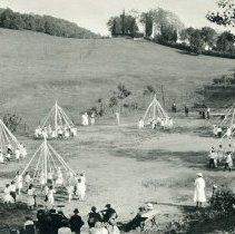 Image of TP4745 - Group- May Day at grammar school. Maypole dancing.