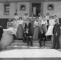 Image of TP487 - Classes for Sonora High School held in courthouse between 1903 and 1907, until September 1907 when the new school was finished, which was started in 1906. Graduating exercises in June 1907 were held in the Turn Verein- (8 graduated in academic courses). Commercial course - 2 years, academic course - 4 years. Students played tennis on the court at the home of John Hopper, County Surveyor, on Knox Hill.  Mr. Penfield taught English and Latin.  Alves, Mary-graduate Carlson, (no 1st name given)-Teacher Frances (no last name)-graduate Grace (no last name)-graduate Hoover, Professor-teacher Lawrence, Marguerite-graduate Marshall, Minnie Rose-graduate Merski, Minnie-teacher Morgan, Edith-graduate Murray, Frances-teacher Napoleon, William-student Rehm, Frank-graduate
