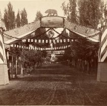 Image of TP6006 - Native Sons of the Golden West, parade arch. Looking north on Washington Street, Sonora, directly in front of the Masonic Hall. Masonic Hall on the left is the same building used today.