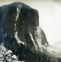Image of TP6190 - El Capitan is a gigantic rock which rises 3,604 feet from the Yosemite valley floor. The picture shows the Big Oak Flat control road from Carl Inn. Refer to C. H. Burden albums p. 17