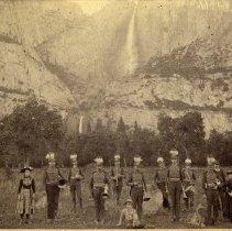 Image of TP807 - Columbia Cornet Band in Yosemite Valley.Yosemite Falls in Background.