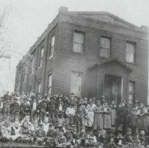 """Image of TP9647 -  A 5"""" x 8"""" Black and white copy of a photo of the Columbia Grammar School Circa 1880 - 1900. The group unidentified."""