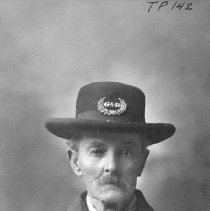 "Image of TP142 - Portrait of John Orr in uniform of the ""Grand Army of the Republic"", with a medal and a ribbon on his coat and a insignia of G-A-R on the hat. Taken in 1905. See notes regarding G.A. R."